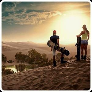 Sunset over Huacachina Oasis