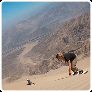 Going down the dune Cerro Blanco