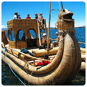 Reed boat on the Uros Islands