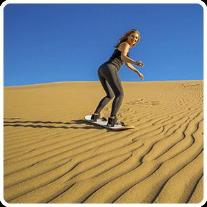 Sandboarding on the Peruvian desert