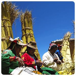 Uros people weaving